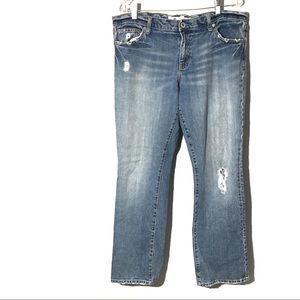 GAP Straight Boy cut High rise Distressed Jeans 14